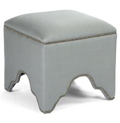 Dunia Hollywood Regency Modern Sage Green Square Stool Ottoman