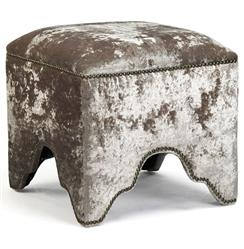 Dunia Hollywood Regency Modern Velvet Square Stool Ottoman