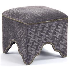 Dunia Hollywood Regency Modern Purple Grid Velvet Square Stool Ottoman