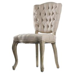 French Country Tufted Hemp Linen Piaf Dining Chair