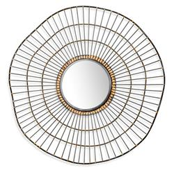 Donna Modern Hollywood Steel Brass Round Mirror