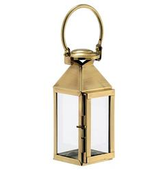 Lacey Hollywood Regency Brass Glass Candle Lantern - 15.3 Inch