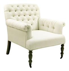 Lorraine White Tufted Linen Arm Chair