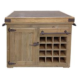 Edmond French Reclaimed Pine Stone Rustic Steel 50.5 Inch Kitchen Island