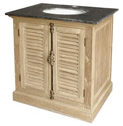 Marron French Country Reclaimed Pine Wash Slat Doors Single Bath Vanity Sink