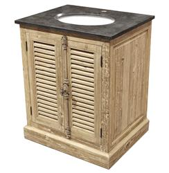 Lilian French Country Reclaimed Pine Wash Slat Doors Single Bath Vanity Sink