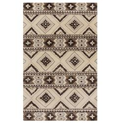 "Santa Fe Rustic Lodge Southwestern Grey Charcoal Wool Rug - 3'3""x5'3"""