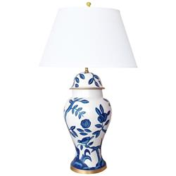 Devonia Chinoiserie Inspired Hand Painted Blue Floral Table Lamp