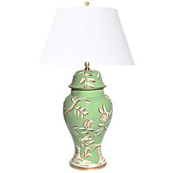 Devonia Chinoiserie Inspired Hand Painted Green Floral Table Lamp