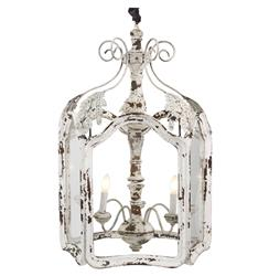 Amelie White Wash Shabby Chic Country Lantern Pendant | LI-05-56