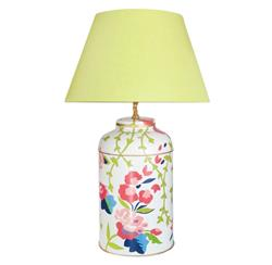 Giardino Hand Painted Floral Chintz Pink Green Table Lamp