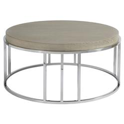Aaron Modern Classic Grey Wood Top Stainless Steel Round Coffee Table | Kathy Kuo Home