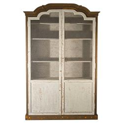 Abbey French Country Curved Top Mesh Front Distressed Grey Cabinet