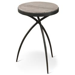 Abby Industrial Loft Grey Marble Iron Tripod End Table - 14D | Kathy Kuo Home