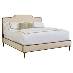 Abigail Regency Cream Velvet Espresso Trim Bed - Queen | Kathy Kuo Home