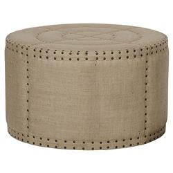 Adalene French Country Burlap Rustic Round Coffee Table Ottoman | Kathy Kuo Home