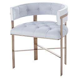 Adaline Hollywood Regency Mirrored Brass White Leather Upholstered Dining Chair | Kathy Kuo Home