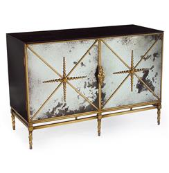 Adalyn Hollywood Regency Antique Mirror Gold Black 2 Door Sideboard | Kathy Kuo Home