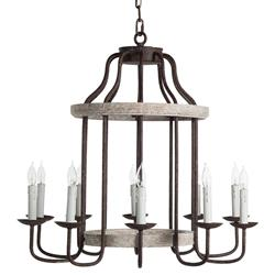 Adele French Cottage Rustic Chipped White Rust 10 Light Chandelier | Kathy Kuo Home