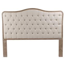 Adelise French Tufted Beige Linen Headboard - Queen | Kathy Kuo Home