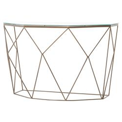 Adelyn Modern Geometric Antique Brass Console Table | Kathy Kuo Home