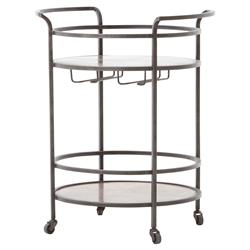 Adri Loft Antique Copper Brass Black Metal Bar Cart | Kathy Kuo Home