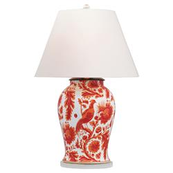 Adrial Global Orange Floral Bird Porcelain Table Lamp | Kathy Kuo Home