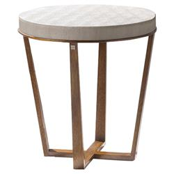Adriana Hoyos Africa Modern Classic Beige Leather Top Brown Wood Round End Table | Kathy Kuo Home