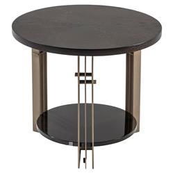 Adriana Hoyos Bolero Modern Classic Dark Brown Wood Bronze Metal Round Side End Table | Kathy Kuo Home