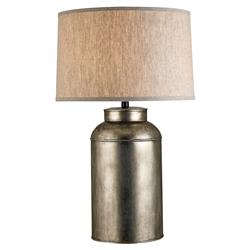 Adriel Industrial Loft Antique Nickel Canister Table Lamp | Kathy Kuo Home