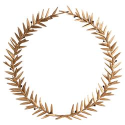 Aesop Gold Leaf Round Metal Wreath Wall Sculpture | Kathy Kuo Home