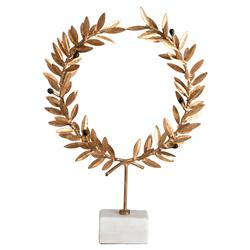 Aesop Gold Leaf White Marble Wreath Stand | Kathy Kuo Home
