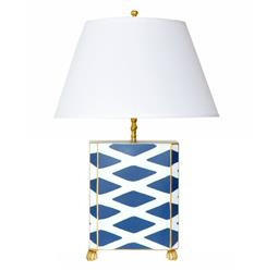 Agar Hand Painted Diamond Gold Navy Table Lamp | Kathy Kuo Home