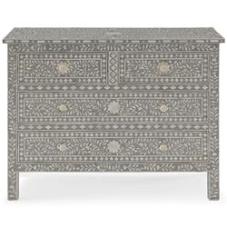 Aiden Global Bazaar Grey and Cream Bone Inlay 4 Drawer Dresser | Kathy Kuo Home