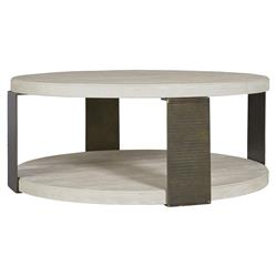 Aiden Modern Classic Ivory Wood Ridged Metal Round Coffee Table | Kathy Kuo Home