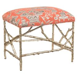 Airlie Global Silver Branch Mandarin Floral Print Ottoman Stool | Kathy Kuo Home