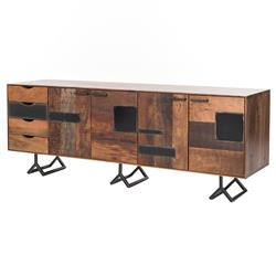Aksel Rustic Lodge Reclaimed Wood Patchwork Console | Kathy Kuo Home