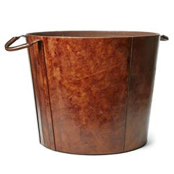 Albert Mid Century Modern Brown Leather Floor Basket | Kathy Kuo Home