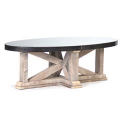 Albertine Zinc Top Solid White Washed Wood Oval Coffee Table | Kathy Kuo  Home