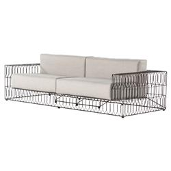 Albin Industrial Vintage Metal Outdoor Sofa | Kathy Kuo Home