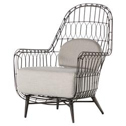 Albin Loft Iron Rattan Outdoor Wing Chair | Kathy Kuo Home