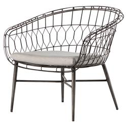 Albin Rounded Iron Outdoor Lounge Chair | Kathy Kuo Home