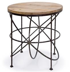 Alchemy Rustic Industrial Loft Wood Iron Orbit Round Side Table | Kathy Kuo Home