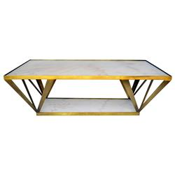 Aldrich Hollywood Regency Deco White Marble Brass Coffee Table | Kathy Kuo Home