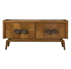 Aletta Global Bazaar Brown African Mahogany Four Door Sideboard | Kathy Kuo Home