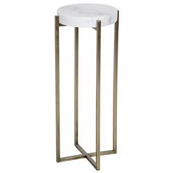 Alexia Hollywood Regency Quartz Antique Brass Round Side Table | Kathy Kuo Home