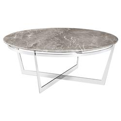 Alexys Grey Marble Round Steel Coffee Table | Kathy Kuo Home