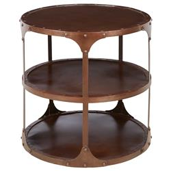 Alfons Industrial Loft Round 3 Tier Metal Side Table | Kathy Kuo Home