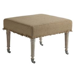 "Alfreda French Country 25"" Square Burlap Bleached Wood Ottoman"