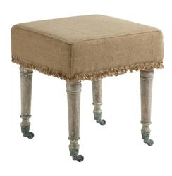 "Alfreda French Country 18"" Square Burlap Bleached Wood Ottoman"